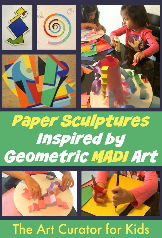 The Art Curator for Kids - Paper Sculptures inspired by Geometric MADI Art - Cultural Art for Kids