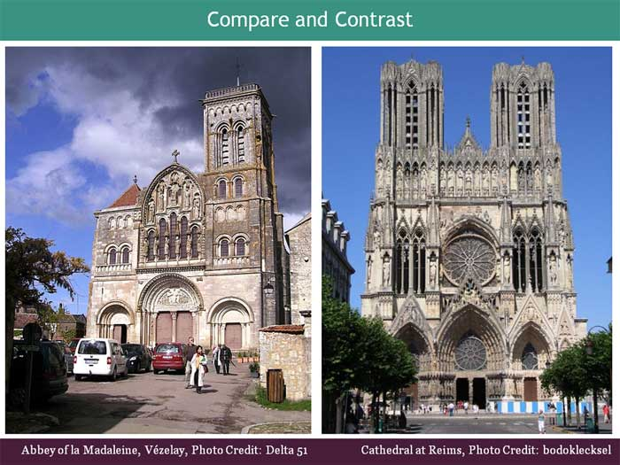 The Art Curator for Kids - Compare and Contrast Romanesque and Gothic Architecture Lessons