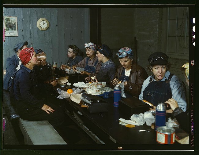 Jack Delano, Women workers employed as wipers in the roundhouse having lunch in their rest room, C. & N.W. R.R., Clinton, Iowa, Library of Congres Photography Analysis