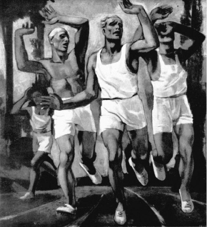 Rudolf Herman Eisenmenger, Runners at the Finish Line, 1936, Silver Medalist for Austria