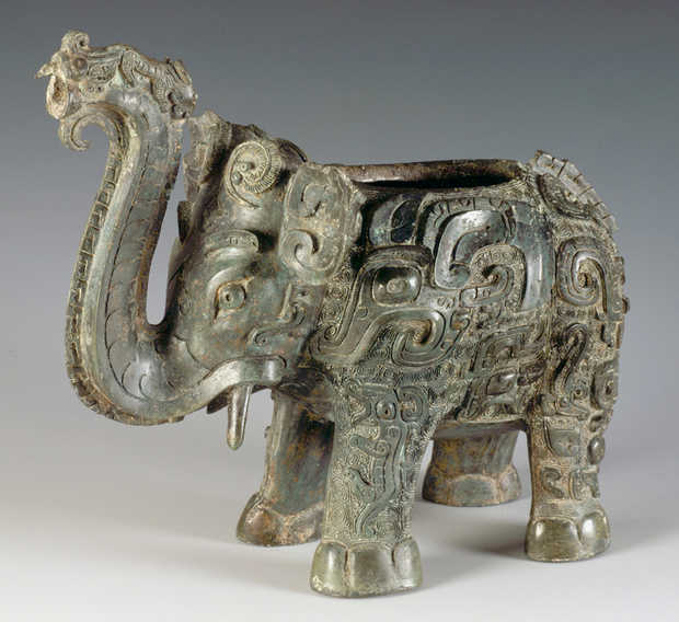 Courtesy of Hunan Provincial Museum This bronze, elephant-shaped Zun vessell dates back to the 12th or 11th century BCE.