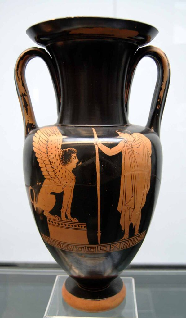 Oedipus and the sphinx, Nolan amphora by the Achilles Painter, circa 440/430 BC.