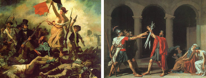 At left: Eugene Delacroix, Liberty Leading the People, 1830; At right: Jacques-Louis David, The Oath of the Horatii, 1784
