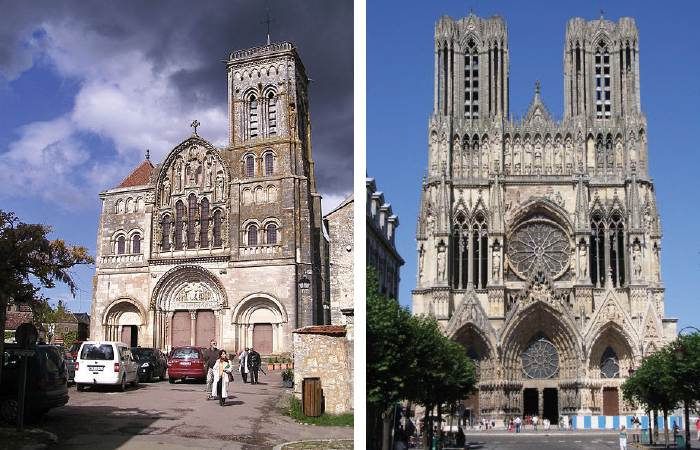 Gothic architecture comparing artworks