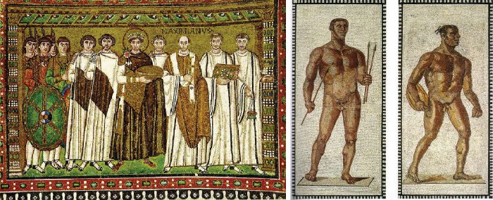 Justinian and two athletes mosaics, how to compare and contrast art paintings