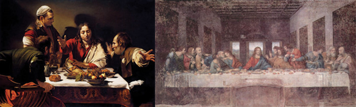 Side by side-The Last Supper and Supper at Emmaus, art comparisons