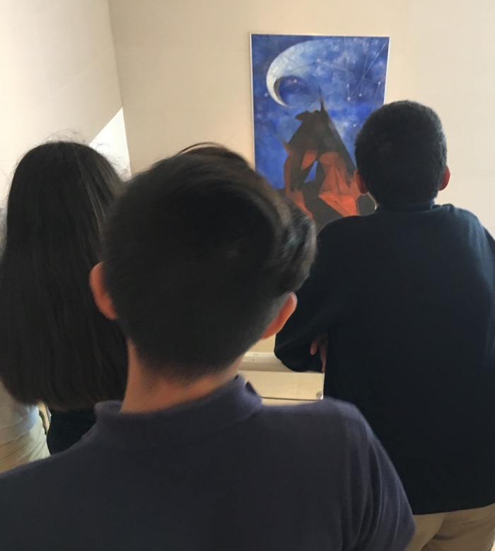 Students in Front of Tamayo's El Hombre mexican art american dream