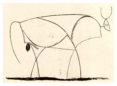 Pablo Picasso, Bull - plate 10, January 10, 1946 - How to Teach Abstract Art