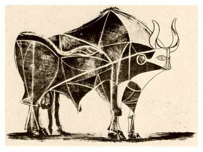Pablo Picasso, Bull - plate 5, December 24, 1945 - How to Teach Abstract Art