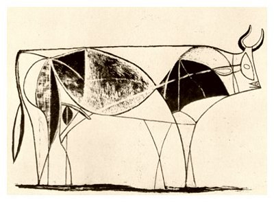 Pablo Picasso, Bull - plate 8, January 2, 1946 - How to Teach Abstract Art
