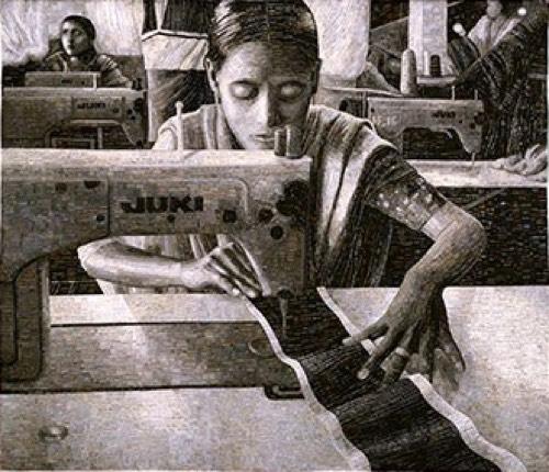 Terese Agnew, Portrait of a Textile Worker, 2005 - five senses paintings