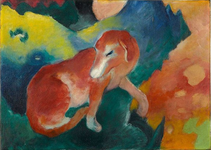 Dogs in Art - Franz Marc, Red Dog, 1911