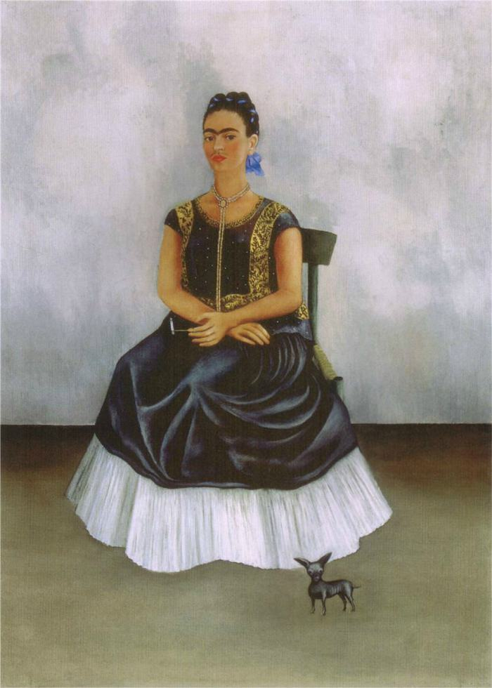 Dogs in Art - Frida Kahlo, Itzcuintli Dog with Me, 1938