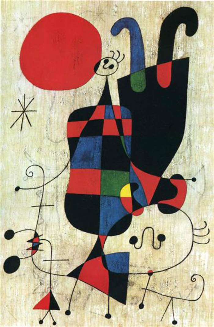 Dogs in Art - Joan Miro, Figures and Dog in Front of the Sun, 1949