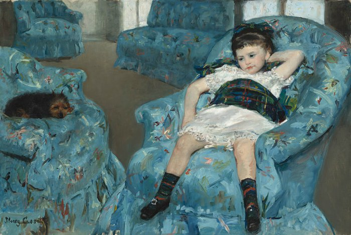 Dogs in Art - Mary Cassatt, Little Girl in a Blue Armchair, 1878