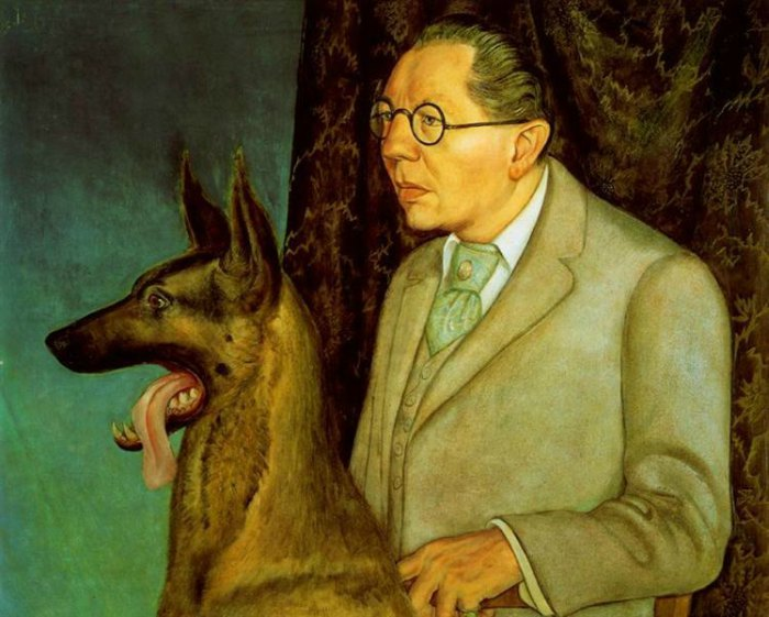 Dogs in Art - Otto Dix, Hugo Erfurth with Dog, 1926