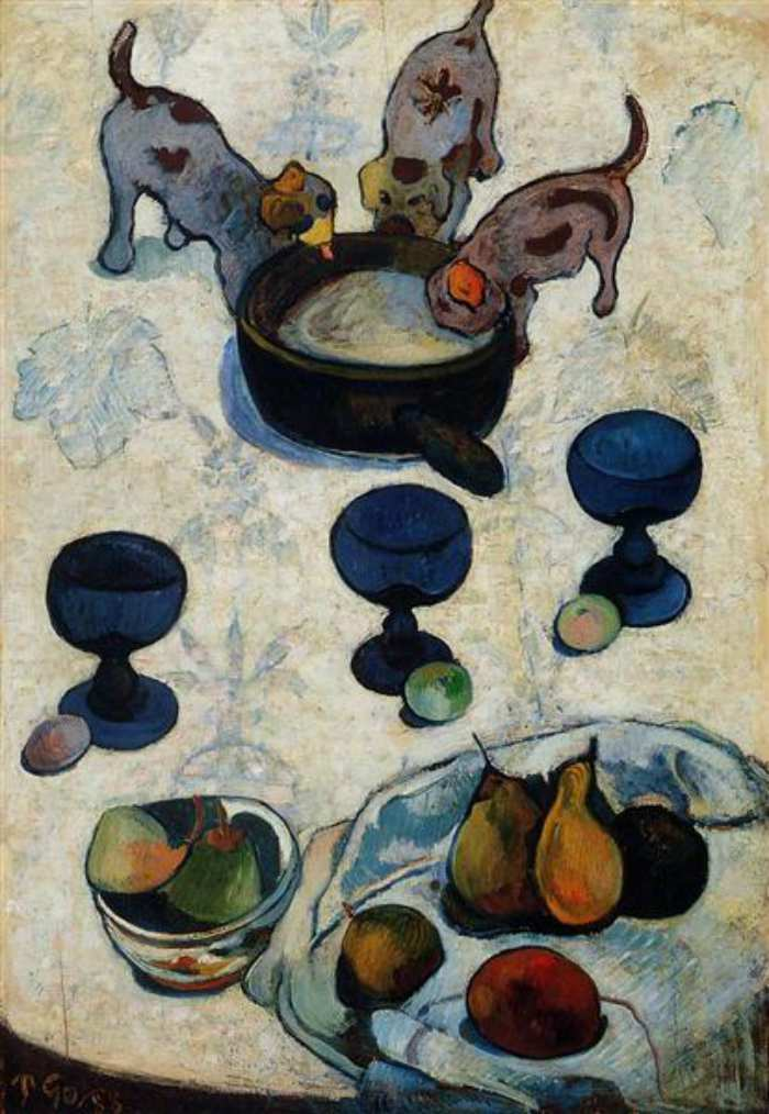 Dogs in Art - Paul Gauguin, Still Life with Three Puppies, 1888