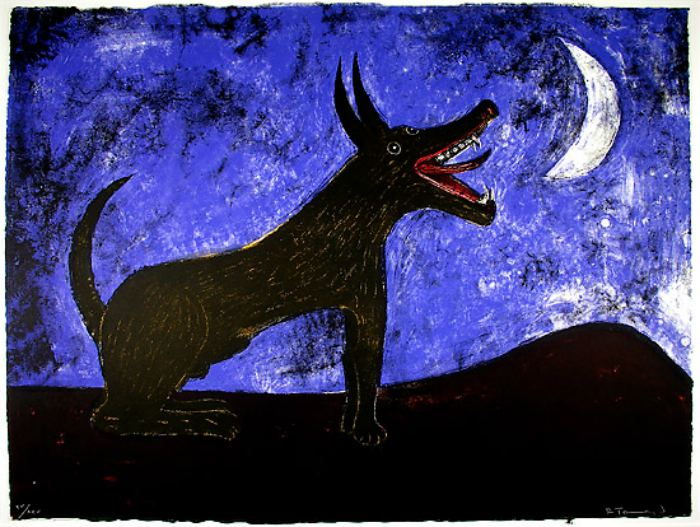 Dogs in Art - Rufino Tamayo, Moon Dog, 1973