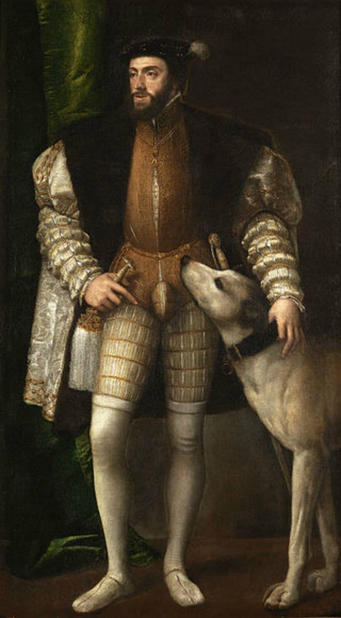 Dogs in Art - Titian, Portrait of Charles V with a Dog, 1532