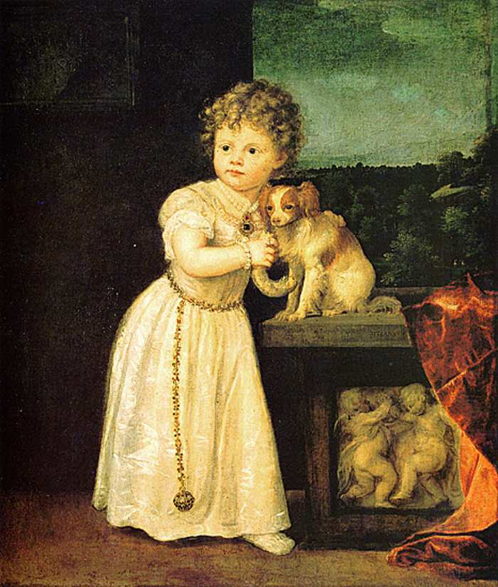 Dogs in Art - Titian, Portrait of Clarissa Strozzi, 1542