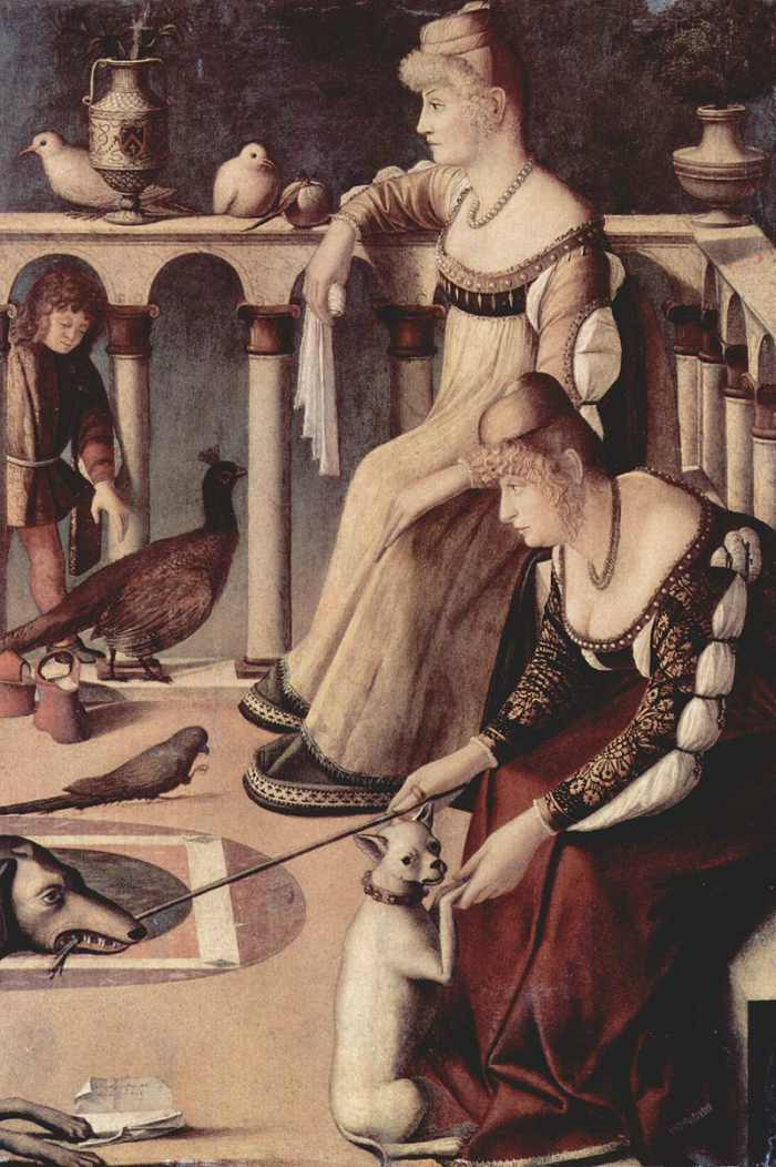 Dogs in Art - Vittore Carpaccio, Two Venetian Ladies, 1490