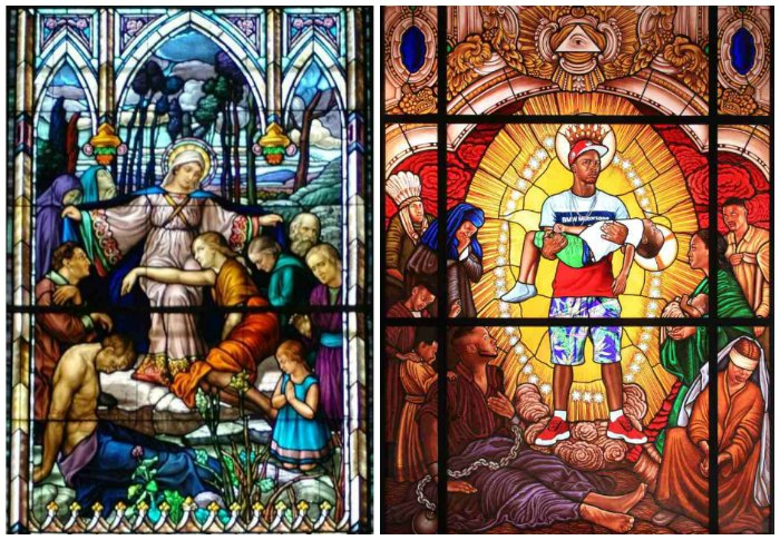 Comparing Kehinde wiley stained glass Mary, Comforter of the Afflicted I, 2016, with the original