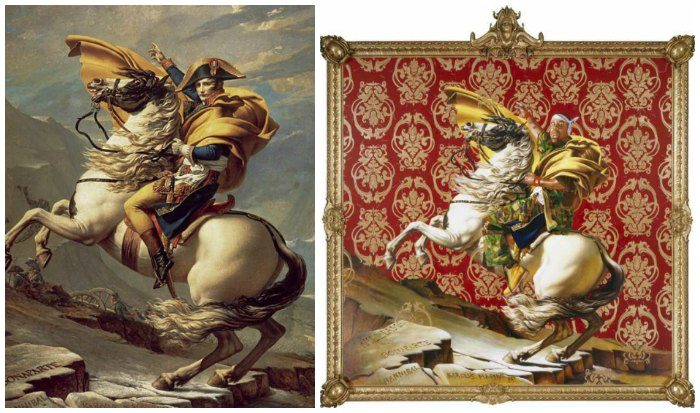 Kehinde Wiley art lesson At left: Kehinde Wiley stained glass, Napoleon Leading the Army over the Alps, 2005; At right: Jacques-Louis David, Napoleon Crossing the Alps, 1801