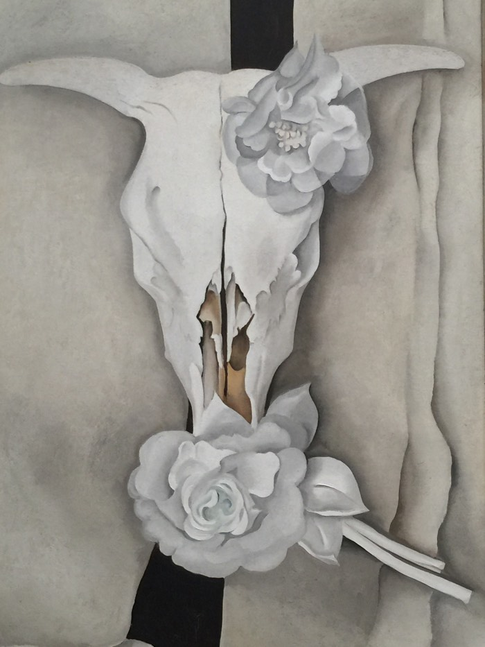 cows skull with calico roses georgia o'keefe art lesson