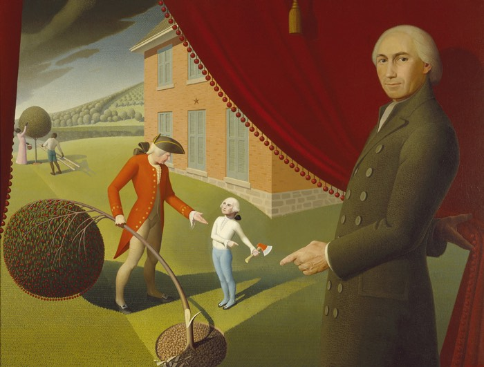 Grant Wood, Parson Weems Fable - Elements and Principles of Art