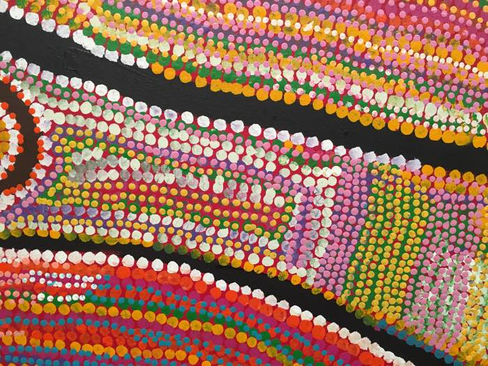 Australian Aboriginal Art for Kids - Mitjili Napanangka Gibson, Wilkinkarra (Late MacKay), 2007 (detail)