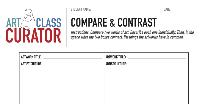 compare contrast art worksheet