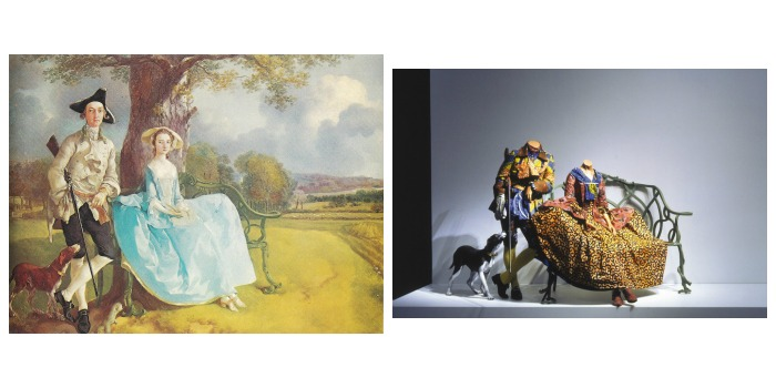Thomas Gainsborough, Mr and Mrs Andrews, 1750 beside Yinka Shonibare, Mr.and Mrs. Andrews without their Heads, 1998