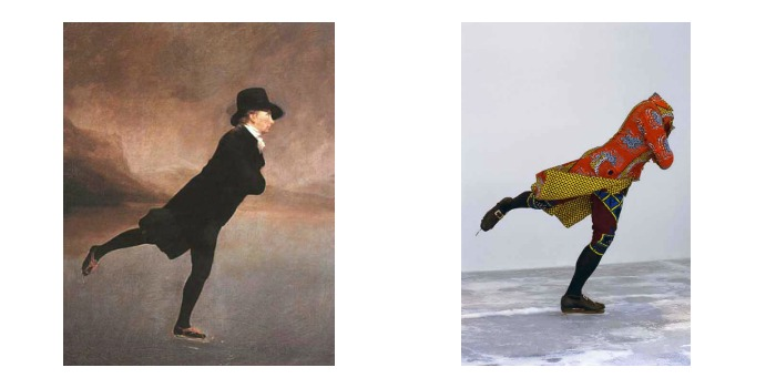 Henry Raeburn, The Reverend Robert Walker Skating on Duddingston Loch, 1790s beside Yinka Shonibare, Reverend on Ice, 2005