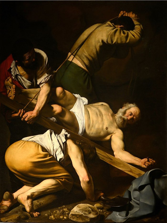 Caravaggio, Crucifixion of St. Peter, 1601 Principles of Design Examples Contrast in Art