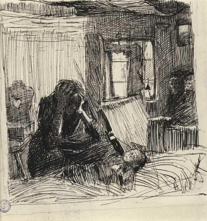Kathe Kollwitz, Misery, 1897 Contrast Examples in Art